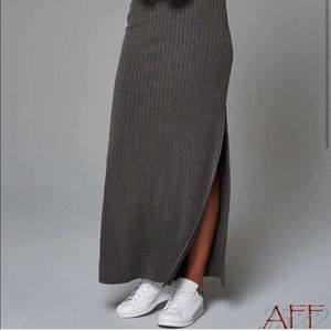 Abercrombie Grey Ribbed Maxi Skirt
